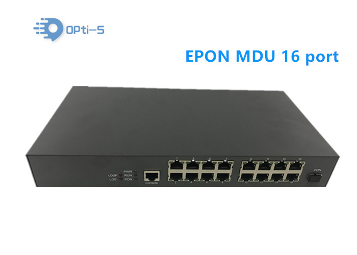 Single Mode Black 16 Port GEPON MDU ONU , Multiple Households Access EPON ONU